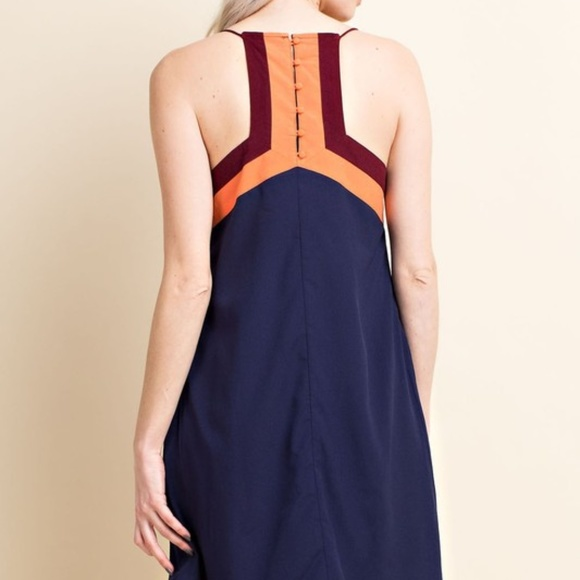 Davi and Dani Dresses & Skirts - Color block Navy Racer back Midi Dress